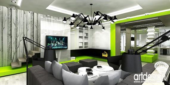 apartament Bielsko Biała  salon, jadalnia z kuchnią, sauna  Projekty, aranż