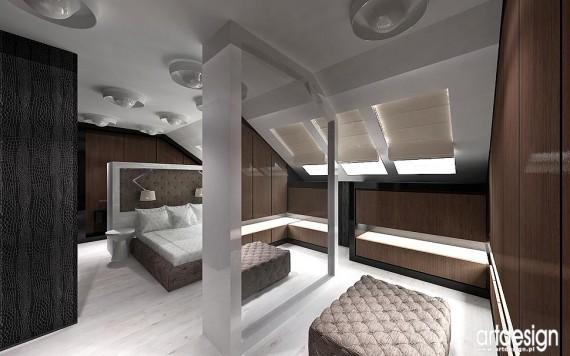 Nowoczesne Wnętrza Domu Dom Salon Sypialnia Na Poddaszu