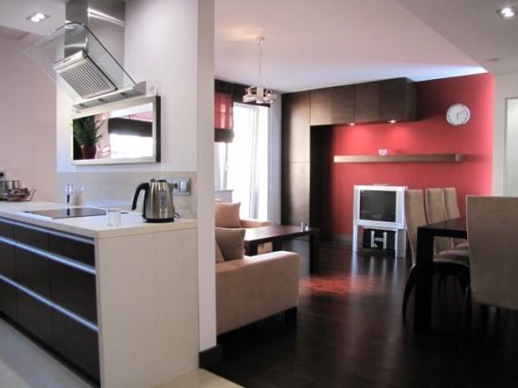 Nowoczesne Mieszkanie Nowoczesne Salon Kuchnia Czerwone