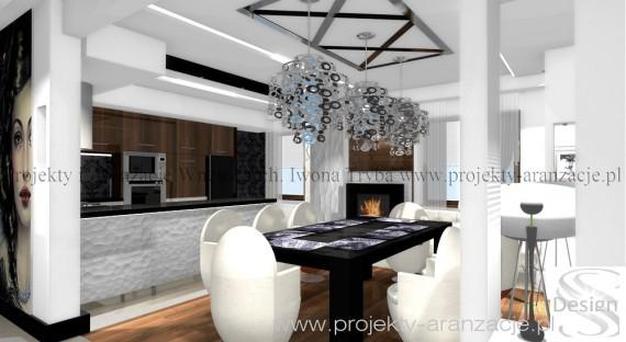 Salon z kuchnią - glamour, Iwona Tryba, salon z - zdjęcie 2 - Projekty, aranżacje wnętrz ...