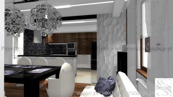 Salon z kuchnią - glamour, Iwona Tryba, salon z - Projekty, aranżacje wnętrz, wnętrza mieszkań ...